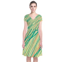Green And Orange Pattern Short Sleeve Front Wrap Dress