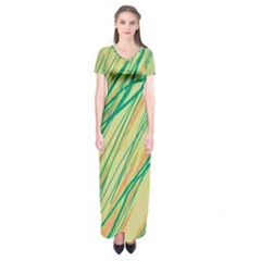 Green and orange pattern Short Sleeve Maxi Dress