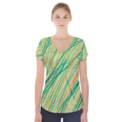Green and orange pattern Short Sleeve Front Detail Top