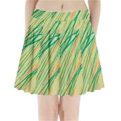 Green and orange pattern Pleated Mini Mesh Skirt