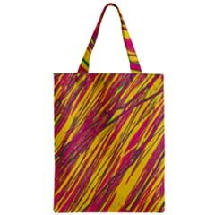 Orange pattern Zipper Classic Tote Bag