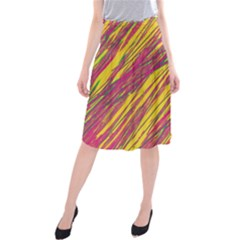 Orange pattern Midi Beach Skirt