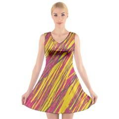 Orange Pattern V Neck Sleeveless Skater Dress