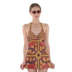 SDA1521A Carpet Snake Halter Swimsuit Dress