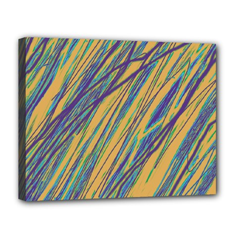 Blue and yellow Van Gogh pattern Canvas 14  x 11