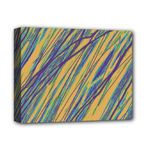 Blue and yellow Van Gogh pattern Deluxe Canvas 14  x 11