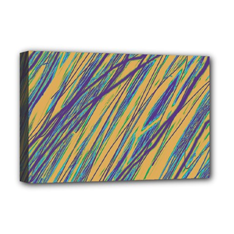 Blue and yellow Van Gogh pattern Deluxe Canvas 18  x 12
