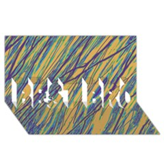 Blue and yellow Van Gogh pattern BEST BRO 3D Greeting Card (8x4)
