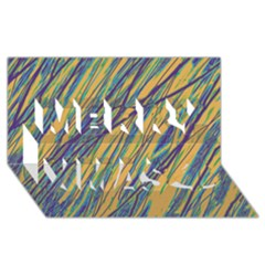 Blue and yellow Van Gogh pattern Merry Xmas 3D Greeting Card (8x4)