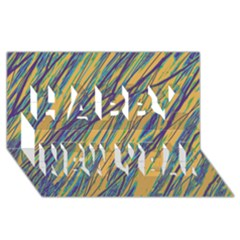 Blue and yellow Van Gogh pattern Happy New Year 3D Greeting Card (8x4)