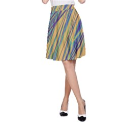 Blue and yellow Van Gogh pattern A-Line Skirt