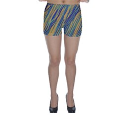 Blue and yellow Van Gogh pattern Skinny Shorts