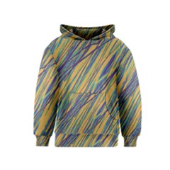 Blue and yellow Van Gogh pattern Kids  Pullover Hoodie