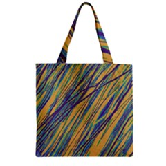 Blue and yellow Van Gogh pattern Zipper Grocery Tote Bag