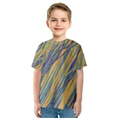 Blue and yellow Van Gogh pattern Kid s Sport Mesh Tee