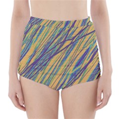 Blue and yellow Van Gogh pattern High-Waisted Bikini Bottoms