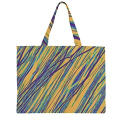 Blue and yellow Van Gogh pattern Large Tote Bag