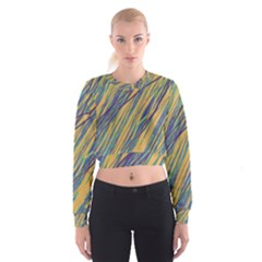 Blue And Yellow Van Gogh Pattern Women s Cropped Sweatshirt