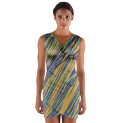 Blue and yellow Van Gogh pattern Wrap Front Bodycon Dress