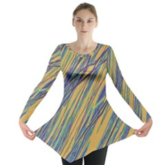 Blue And Yellow Van Gogh Pattern Long Sleeve Tunic