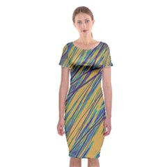 Blue and yellow Van Gogh pattern Classic Short Sleeve Midi Dress