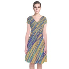 Blue and yellow Van Gogh pattern Short Sleeve Front Wrap Dress