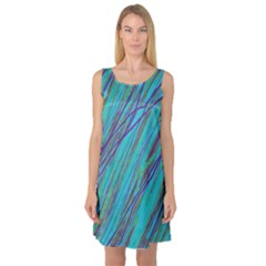 Blue pattern Sleeveless Satin Nightdress