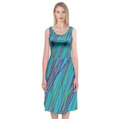 Blue Pattern Midi Sleeveless Dress