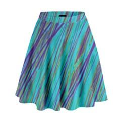 Blue pattern High Waist Skirt