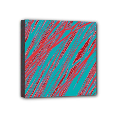 Red and blue pattern Mini Canvas 4  x 4