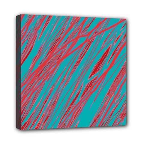 Red and blue pattern Mini Canvas 8  x 8