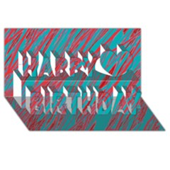Red and blue pattern Happy Birthday 3D Greeting Card (8x4)
