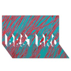 Red And Blue Pattern Best Bro 3d Greeting Card (8x4)