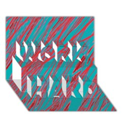 Red and blue pattern WORK HARD 3D Greeting Card (7x5)