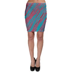 Red and blue pattern Bodycon Skirt