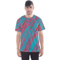 Red and blue pattern Men s Sport Mesh Tee