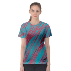 Red and blue pattern Women s Sport Mesh Tee