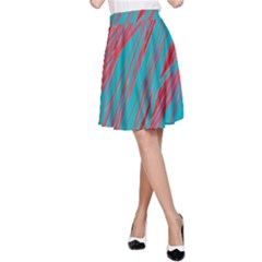 Red and blue pattern A-Line Skirt