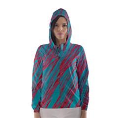 Red and blue pattern Hooded Wind Breaker (Women)