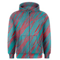 Red and blue pattern Men s Zipper Hoodie