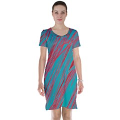 Red and blue pattern Short Sleeve Nightdress