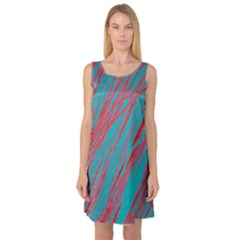 Red and blue pattern Sleeveless Satin Nightdress