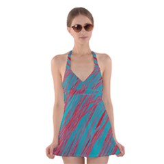 Red And Blue Pattern Halter Swimsuit Dress