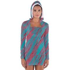 Red and blue pattern Women s Long Sleeve Hooded T-shirt