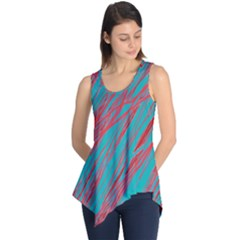 Red And Blue Pattern Sleeveless Tunic