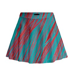 Red And Blue Pattern Mini Flare Skirt