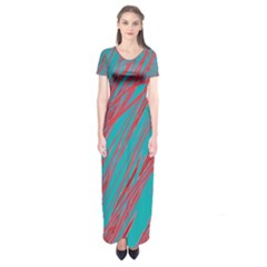 Red and blue pattern Short Sleeve Maxi Dress