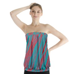 Red and blue pattern Strapless Top