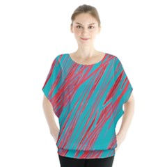 Red and blue pattern Batwing Chiffon Blouse