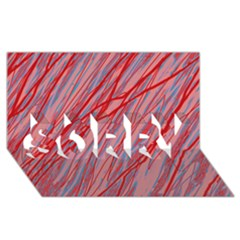 Pink and red decorative pattern SORRY 3D Greeting Card (8x4)